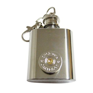 Gold and Silver Toned Shotgun Shell Design 1 Oz. Stainless Steel Key Chain Flask