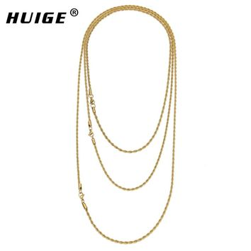 """Hip Hop Stainless steel Rapper's 3mm 20/24/30"""" Rope Chain Mens Gold Filled Rope Chain Necklace"""
