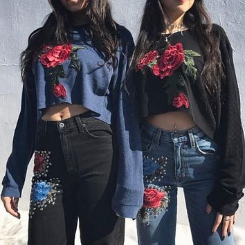 Flower Embroidery Loose Long Sleeve Round Neck Sweater Women Crop Tops