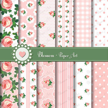 Roses - Pink  Digital Papers - DIY - Decoupage - Scrapbooking - Cardmaking - Collage Sheet - 1613