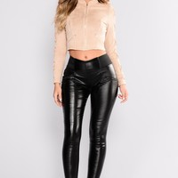 Baddie Faux Leather Leggings - Black