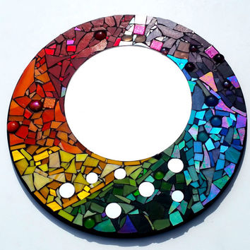 Whimsical Rainbow Mosaic Art Mirror. Ready to Hang Colorful Home Decor. Boho Hippie Unique Artwork.
