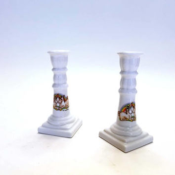 Vintage Unicorn and Rainbow Candle Sticks Aldon Accessories LTD Porcelain Bud Vase