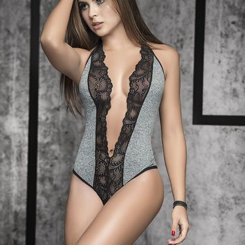 Sassy Cheeky Bodysuit With Plunging Neckline-Sassy Lingerie