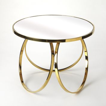 Prentiss Polished Gold End Table