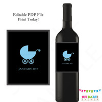 Pregnancy Announcement Wine Label, Pregnancy Reveal, Blue Boy, Gender Reveal Ideas, Custom Wine Label, Printable, Editable, Instant Download