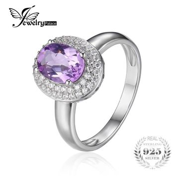 JewelryPalace Classic 1.8ct Natural Amethyst Halo Anniversary Engagement Ring 925 Sterling Silver Women Fashion Accessories 2017