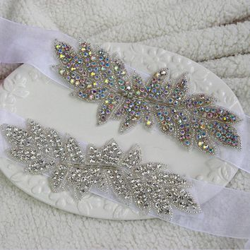 Sparkling  2017 Bridal Belts Wedding Belt Beaded Crystals and Rhinestones Wedding Sashes Waistband W