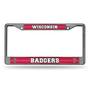 Wisconsin Badgers NCAA Glitter Bling Chrome License Plate Frame Car Truck Wall
