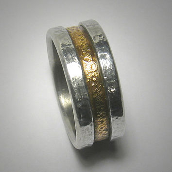 Rustic wedding band for men - custom handmade mixed metalwork men's brass and silver engagement ring