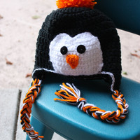Baby boy penguin crochet hat