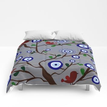 Lucky Evil Eye Bird Tree Comforters by UMe Images