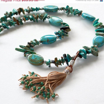 ON SALE Tibetan Turquoise Tassel Necklace, Tibetan Jewelry, Tribal Jewelry, Beaded Jewelry, Boho Jewelry, Beach Jewelry, OOAK
