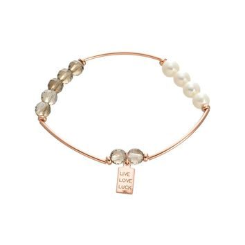 "Rose Gold Over Sterling Silver Smoky Quartz and Freshwater Pearl Beaded ""LIVE LOVE LUCK"" Stretch Bracelet"