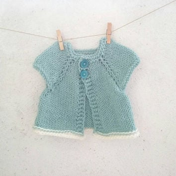 Mint Hand knitted baby sweater / Baby cardigan / 6 - 12 months sweater