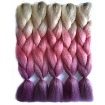 PEAP78W Chorliss 24inch(65cm) Jumbo Synthetic Hair Extensions Ombre Braiding Hair Straight Crochet Braids 613TpinkTpurple 100g/pack