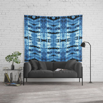 Indigo Satin Shibori Wall Tapestry by ninamay