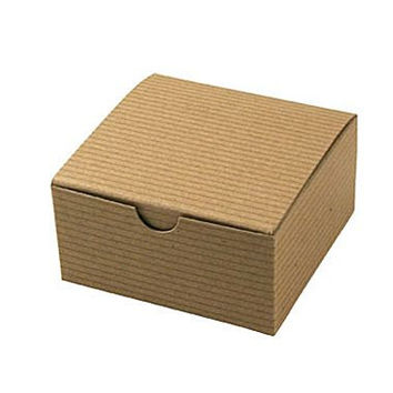 "20 qty. 3 x 3 x 2"" Kraft Brown Pinstripe Gift Boxes, One Piece Box, Tuck In Top Box, Favor Box, Wedding Favor Box, Square Box, Eco Friendly"