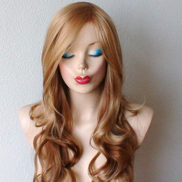 Golden blonde /honey blonde Auburn Ombre wig. Long curly Long side bangs wig. Fashion hairstyle two tone  golden blonde wig.
