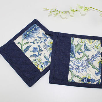 Blue Floral with Yellow Fabric Pot Holders with Denim Binding, Quilted Pot Holders for Primitive Kitchen Decor, P108