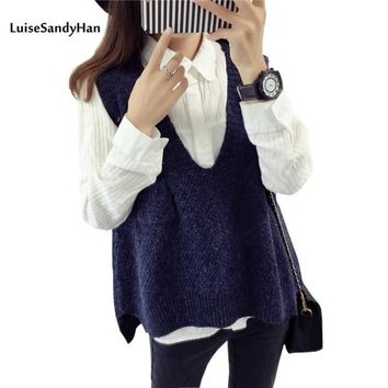 Spring Wool Sweater Vest Women Sleeveless V-Neck Knitted Vests Long Sections Poullover Vest Female Jumper pull femme
