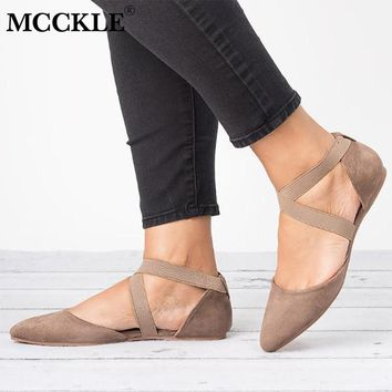 MCCKLE Autumn Flat Shoes Sexy Cross Strap Low Heel Plus Size Ballet Flats Elastic Band Female Casual Pointed Toe Single Shoe
