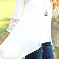 White Lace Cut-out Irregular Hem Long Sleeves Blouse