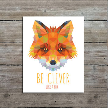 Geometric Fox Print, Woodland Nursery Decor, Fox Art, Orange Fox Print, Geometric Art, Geometric Print, Wall Art