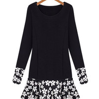 Black Floral Long Sleeve Pleated Dress
