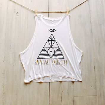 Spiritual Gangster Women's Muscle Tee Tank Yoga Tank Graphic Tee Pinterest Tumblr Fashion Coachella Festival Boho Women's Workout Beach Tank