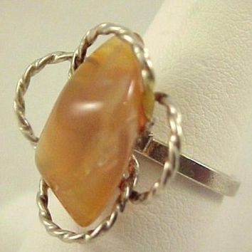 Vintage Agate Stone Silver Ladies Ring Size 6.25 Adjustable Boho