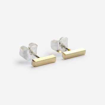Small Square Bar Earrings – Gold