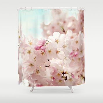 cherry blossoms Shower Curtain by sylviacookphotography