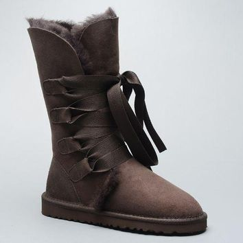 ESBON UGG 1005818 Tall Lace-Up Women Fashion Casual Wool Winter Snow Boots Chocolate
