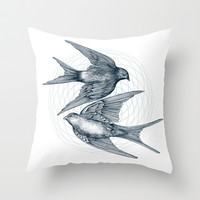 Two Swallows Throw Pillow by Rachel Caldwell