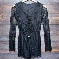 black lace gauzy romper by reverse x lovecat