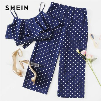 SHEIN Polka Dot Crop Cami Top And Palazzo Pants Set 2018 Women Spaghetti Strap Sleeveless Ruffle Button Vacation 2 Pieces Sets
