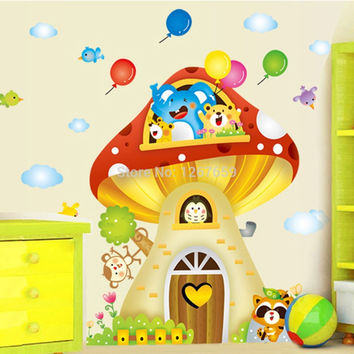 DIY nursery children adhesive decals decoration Home Wall Art Decal kids mushrooms Sticke wall sticker vinyl adhesive. SM6
