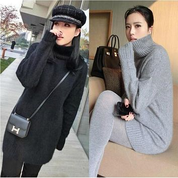 women turtleneck pullover cashmere sweater long loose sweater solid color knitted basic wool sweater lady 2016 winter