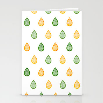 Yellow and green raindrops Stationery Cards by Savousepate