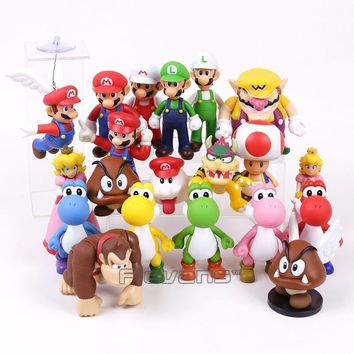 Super Mario party nes switch  Bros PVC Figure Toy  Luigi Wario Yoshi Peach Toad Donkey Kong Bowser Boo Goomba 20 Types 7~14cm AT_80_8