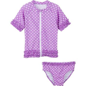475b59b3a0 Little Girl UPF 50+ Rash Guard Swimsuit Set | Sassy Surfer (Purple Violet)