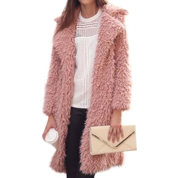 2018 New Hairy Shaggy Long Coat Women Lapel Faux Lamb Wool Curly Fur Coat Outerwear Winter Spring Warm Fashion Overcoat Casaco