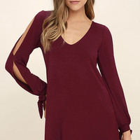 Glory of Love Wine Red Shift Dress