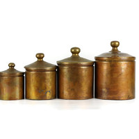 Vintage Copper Canister Set, Nesting Canisters, Rustic Decor, Set of Four