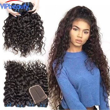 human hair weave 3 bundles with lace closure VIP beauty Malaysian water wave hair extension non remy hair natural color 1b