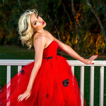 Adult tutu dress, Adult ladybug costume,dress, adult fairy dress, red and black, halloween costume,