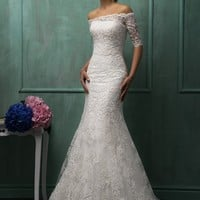 Lace Wedding Dress Boat Neck Half  Sleeve Backless Sweep Train Applique Mermaid Bridal Gowns Dresses Vestido De Noiva