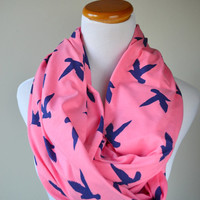Pink Blue Bird infinity Scarf on soft Jersey knit-Ready to ship