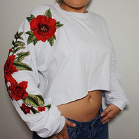White Rose Crop Sweater